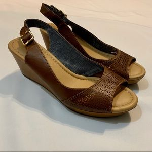 Dr. Scholls Brown Wedge Slingback Sandal Size 10M